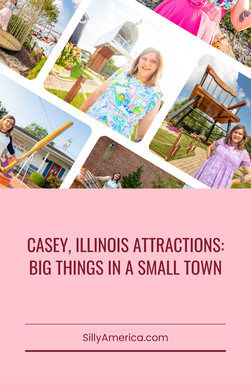"""If you always pulls over for roadside attractions you can't miss this. Casey, Illinois is home to twelve official world's largest things, houses a myriad of other oversized attractions, and takes their slogan of """"Big Things in a Small Town"""" seriously. You can't miss these Casey Illinois attractions.  #IllinoisRoadsideAttractions #IllinoisRoadsideAttraction #RoadsideAttractions #RoadsideAttraction #RoadTrip #IllinoisRoadTrip #IllinoisWeekendGetaways #IllinoisWithKids #IllinoisRoadTripTravel"""