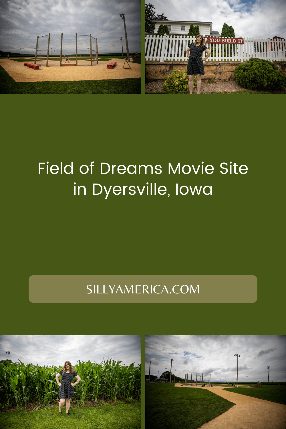 """The iconic movie line goes, """"If you build it he will come."""" And on this Iowa farm they actually built it and over 30 years later, tourists are still coming to check out the Field of Dreams movie site in Dyersville, Iowa. #movie #fieldofdreams #IowaRoadsideAttractions #IowaRoadsideAttraction #RoadsideAttractions #RoadsideAttraction #RoadTrip #IowaRoadTrip #IowaThingsToDo #IowaRoadTripBucketLists #IowaBucketList #IowaRoadTripIdeas #IowaTravel"""