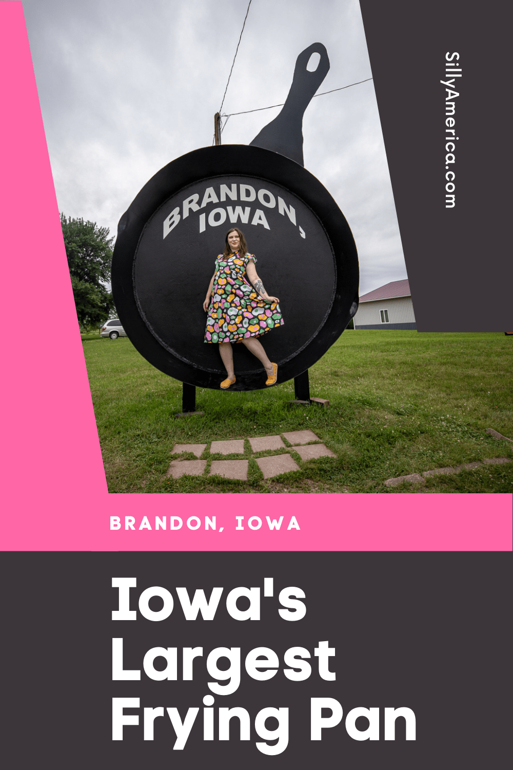Iowa's Largest Frying Pan in Brandon, Iowa could cook 528 eggs, 352 pork chops, or 88 pounds of bacon. That's a lot of bacon! This roadside attraction is a must see stop on an Iowa road trip. Be sure to save room for a Cowboy Breakfast if you travel in September!  #IowaRoadsideAttractions #IowaRoadsideAttraction #RoadsideAttractions #RoadsideAttraction #RoadTrip #IowaRoadTrip #IowaThingsToDo #IowaRoadTripBucketLists #IowaBucketList #IowaRoadTripIdeas #IowaTravel