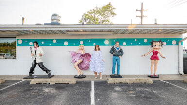 Statues of Elvis, Marilyn Monroe, James Dean, and Betty Boop at the Route 66 Polk-a-Dot Drive In in Braidwood, Illinois