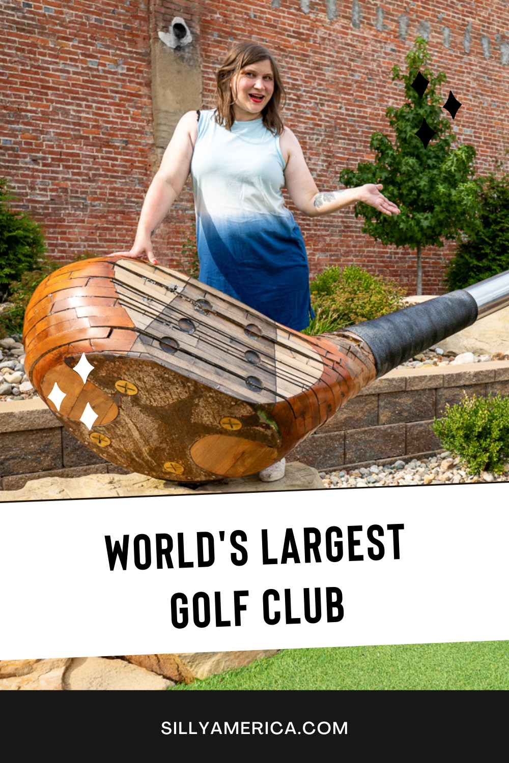 Take a drive to this Illinois roadside attraction: the world's largest golf club in Casey, Illinois. I'd say that it is definitely above par. The world's largest golf driver is 45 feet, 9.4 inches long and weighs 731 pounds. Visit on a road trip to Casey, Illinois! #IllinoisRoadsideAttractions #IllinoisRoadsideAttraction #RoadsideAttractions #RoadsideAttraction #RoadTrip #IllinoisRoadTrip #IllinoisWeekendGetaways #IllinoisWithKids #IllinoisRoadTripTravel