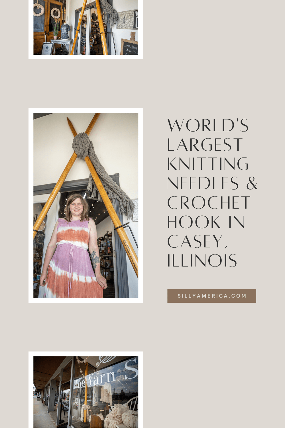These roadside attractions might cause you to knit your eyebrows in confusion. But let me spin a yarn about the (former) World's Largest Knitting Needles and Crochet Hook in Casey, Illinois. Visit these big things on a road trip to Casey, Illinois or your weekend getaway in town. #IllinoisRoadsideAttractions #IllinoisRoadsideAttraction #RoadsideAttractions #RoadsideAttraction #RoadTrip #IllinoisRoadTrip #IllinoisWeekendGetaways #IllinoisWithKids #IllinoisRoadTripTravel