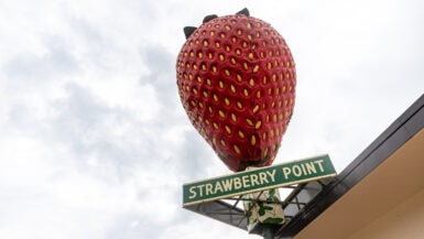 The World's Largest Strawberry in Strawberry Point, Iowa - The Best Iowa Roadside Attractions