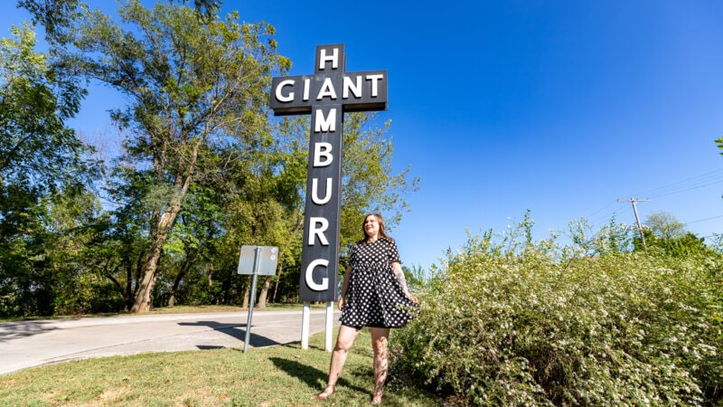 Red's Giant Hamburg sign at the Birthplace of Route 66 Roadside Park in Springfield, Missouri