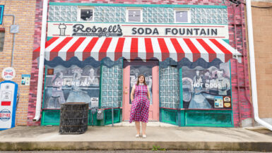 Roszell's Soda Shop mural - Mural City Route 66 Murals in Pontiac, Illinois