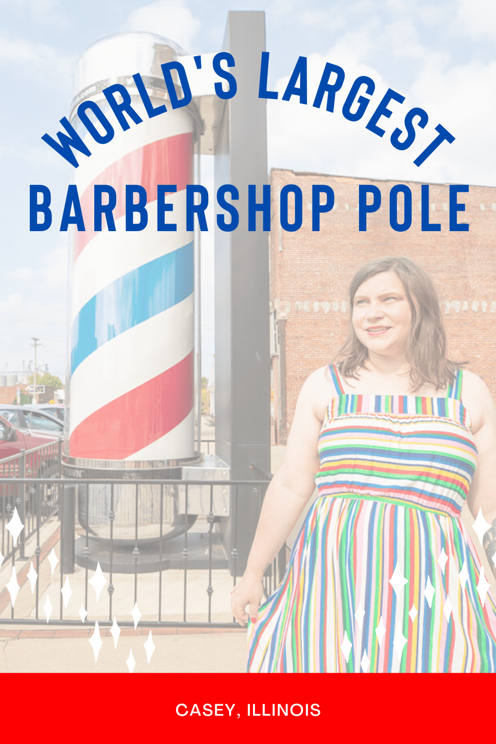 This Illinois roadside attraction might just be a cut above the rest — it's the world's largest barbershop pole in Casey, Illinois. At 14 feet tall and 3 feet 11 inches wide, this Illinois roadside attraction is a hair above ten times the size of the standard.  #IllinoisRoadsideAttractions #IllinoisRoadsideAttraction #RoadsideAttractions #RoadsideAttraction #RoadTrip #IllinoisRoadTrip #IllinoisWeekendGetaways #IllinoisWithKids #IllinoisRoadTripTravel