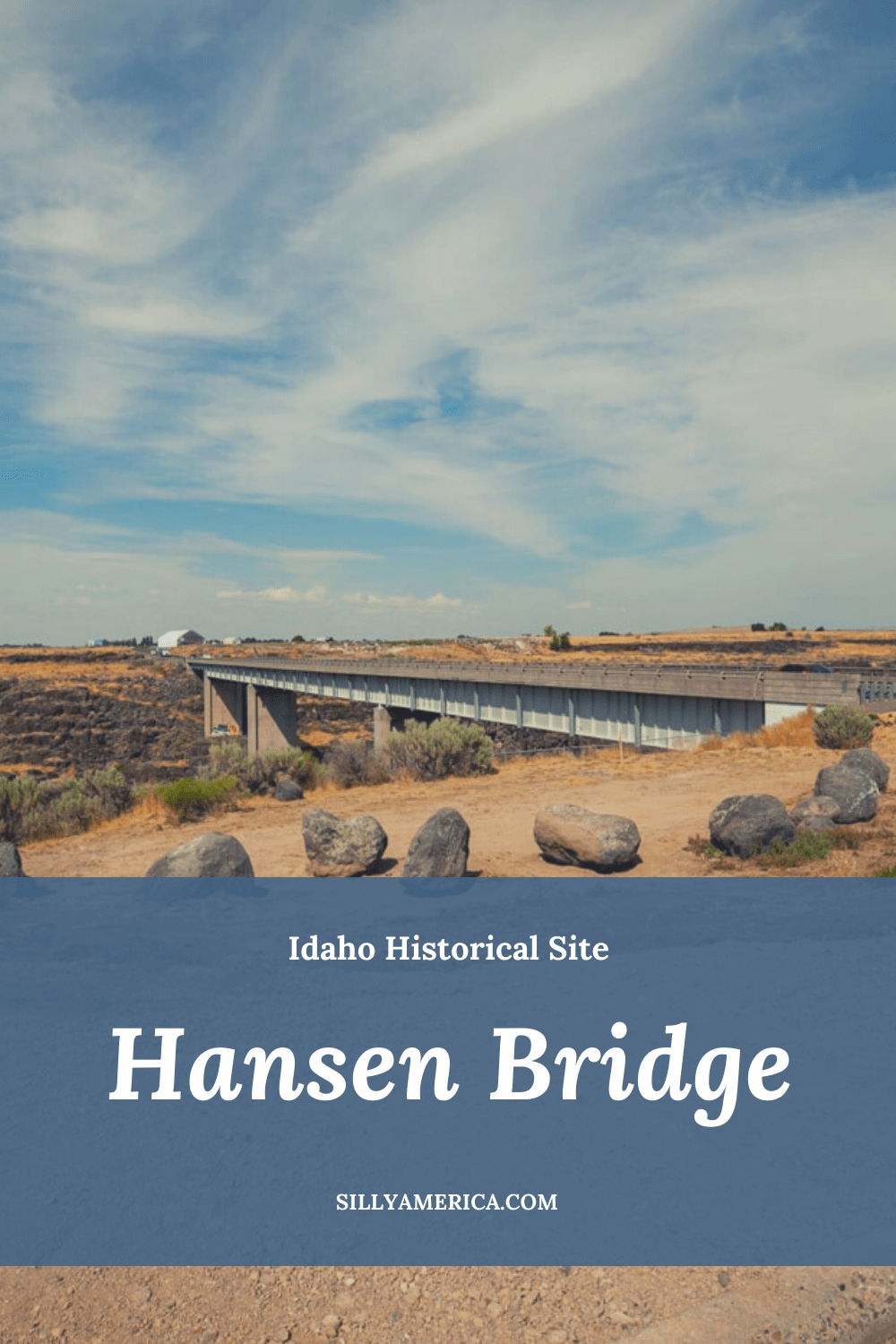 Visiting Shoshone Falls in Idaho? Veer over to check out the scenic outlook at The Hansen Bridge on your way there or back.  Prior to a steel high suspension bridge being constructed in this location in 1919, the only way to traverse the 16-mile river gorge was via rowboat. The $100,000, 900-foot bridge, was built 400 feet above the Snake River with 14 cables and could accommodate two lanes of traffic.  #RoadTrip #IdahoRoadTrip #IdahoRoadTripBucketLists #ThingsToDoInIdaho