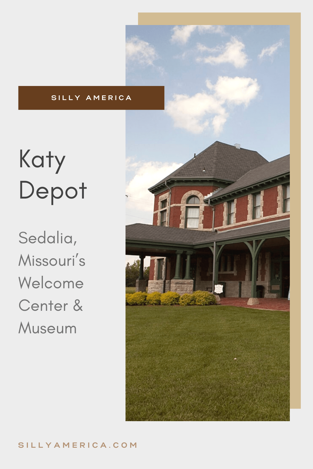Built in 1896, the Katy Depot in Sedalia, Missouri was once a fully-functioning railroad station. Today, it serves as Sedalia's official welcome center. Visit the public art and historical displays on your Missouri road trip at this roadside attraction.  #MissouriRoadsideAttractions #MissouriRoadsideAttraction #RoadsideAttractions #RoadsideAttraction #RoadTrip #MissouriRoadTrip #MissouriRoadTripMap #PlacestoVisitinMissouri #MissouriRoadTripIdeas #MissouriTravelRoadTrip #RoadTrip