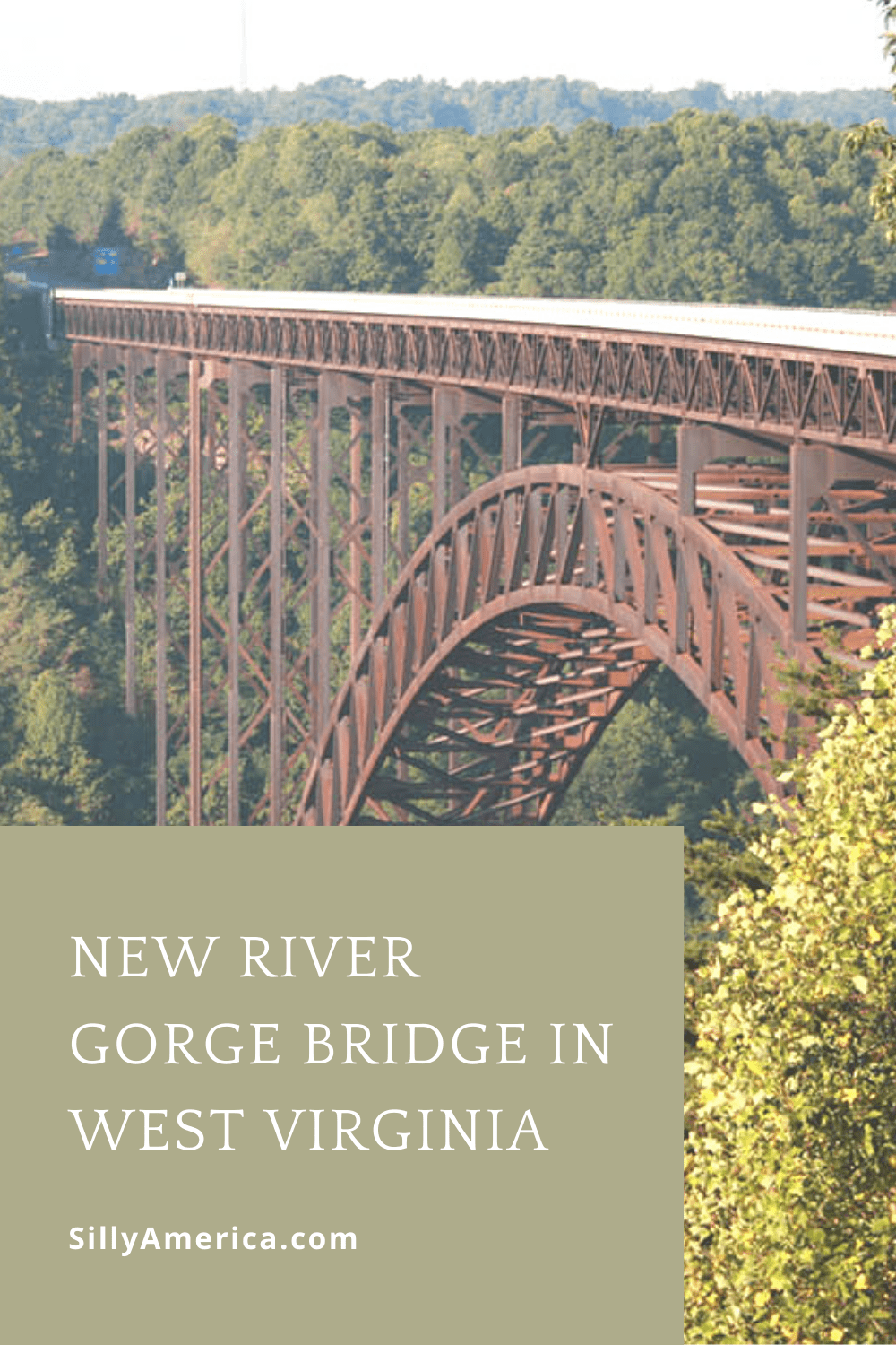 """A must-see tourist attraction in West Virginia is the New River Gorge Bridge. While this road trip stop is far from the normal """"world's largest things"""" we write about here, it's an impressive site and not to be missed if driving through the area. #WestVirginiaRoadsideAttractions #WestVirginiaRoadsideAttraction #RoadsideAttractions #RoadsideAttraction #RoadTrip #WestVirginiaRoadTrip #WestVirginiaTravelRoadTrip #ThingsToDoInWestVirginia #WestVirginiaMountainsRoadTrip"""
