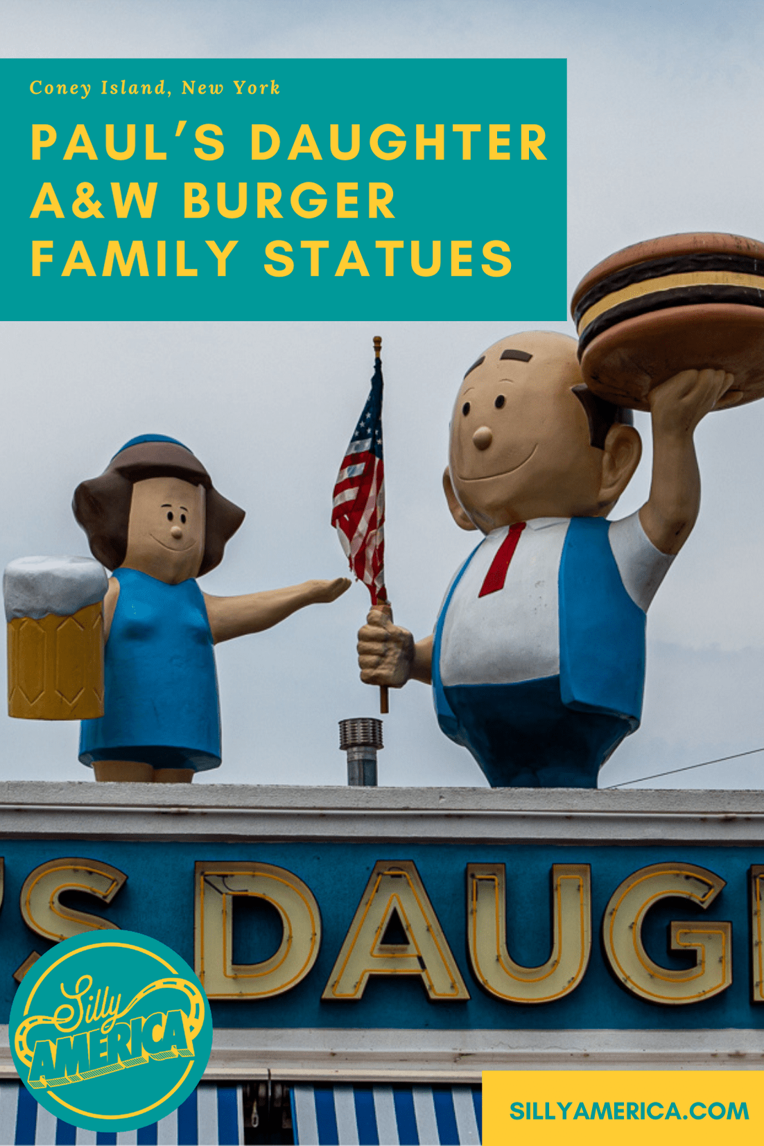 Paul's Daughter is one of the oldest restaurants on the Coney Island boardwalk. It's known for cold beer, clam strips, lobster rolls…and the fiberglass mama and papa A&W Burger Family statues on their roof. Check out these New York roadside attractions when you visit Luna Park and Coney Island. #NewYorkRoadsideAttractions #NewYorkRoadsideAttraction #RoadsideAttractions #RoadsideAttraction #RoadTrip #NewYorkRoadTrip #NewYorkRoadTripBucketLists #NewYorkBucketLists  #ThingsToDoInNewYork