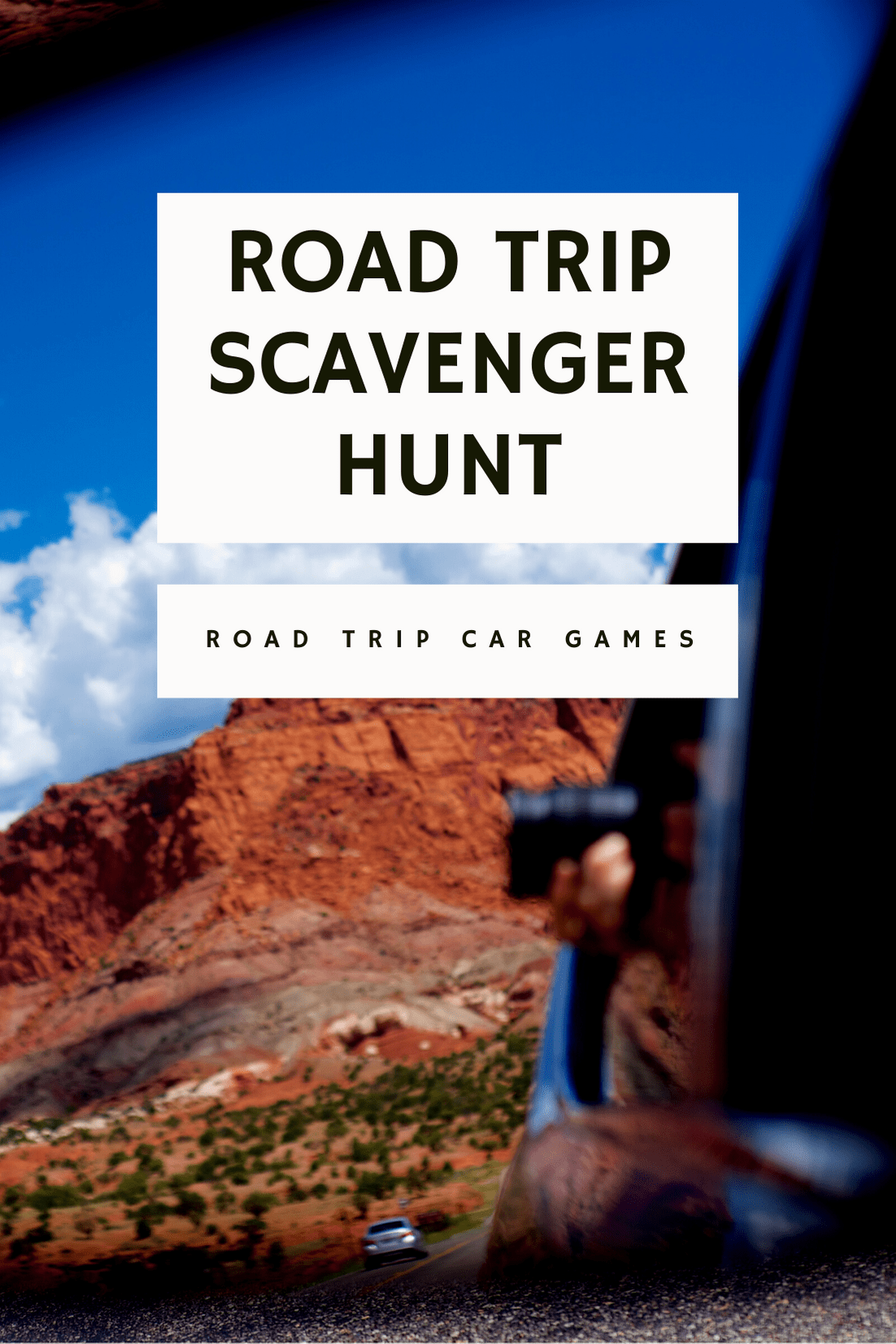 A road trip scavenger hunt is a fun game that keeps everyone in the car engaged! Print off a list of things to see on a road trip and keep your eyes peeled, and then award points for who sees the most and who sees what first. Play this fun road trip game on your next long car trip!  #RoadTripGames #RoadTripGamesForAdults #RoadTripGamesForTeens #RoadTripGamesForKids #FamilyRoadTripGames #RoadTripGamesF0rCouples #PrintableRoadTripGames #CarRides #RoadTripGamesWithFriends #DIYRoadTripGames