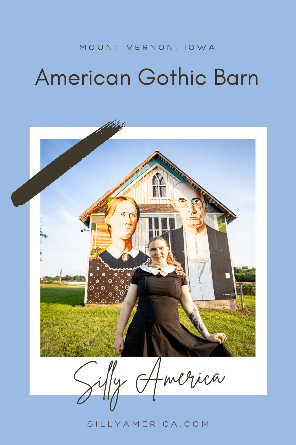 """Grant Wood's famous painting """"American Gothic"""" depicts a farmer and his daughter standing side by side in front of a farm house. The painting is oft reproduced, copied, and parodied and has inspired several roadside attractions. This, the American Gothic Barn in Mount Vernon, Iowa.  #IowaRoadsideAttractions #IowaRoadsideAttraction #RoadsideAttractions #RoadsideAttraction #RoadTrip #IowaRoadTrip #IowaThingsToDo #IowaRoadTripBucketLists #IowaBucketList #IowaRoadTripIdeas #IowaTravel"""