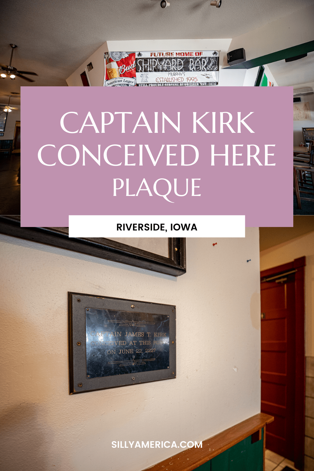 The Captain Kirk Conceived Here plaque at Murphy's Bar & Grill in Riverside, Iowa - the future birthplace of Star Trek's Captain James T. Kirk. #StarTrek #IowaRoadsideAttractions #IowaRoadsideAttraction #RoadsideAttractions #RoadsideAttraction #RoadTrip #IowaRoadTrip #IowaThingsToDo #IowaRoadTripBucketLists #IowaBucketList #IowaRoadTripIdeas #IowaTravel