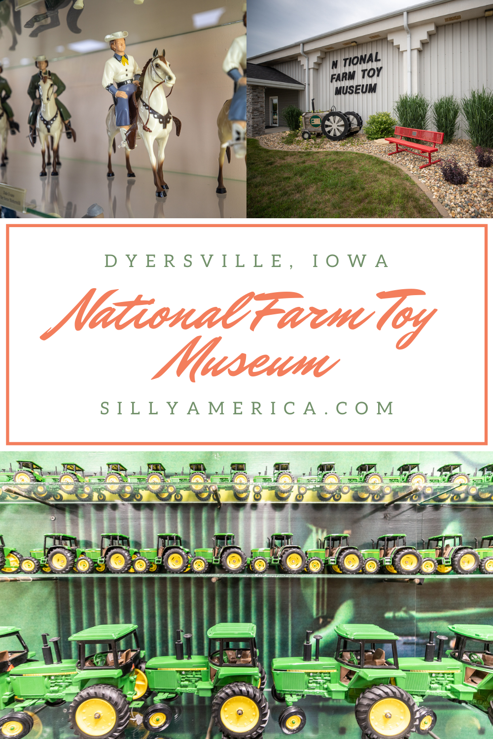 Tractors and horses and tractors and barns and tractors and machines and tractors. If you love tractors, toys, or fun museums check out the National Farm Toy Museum in Dyersville, Iowa - the Farm Toy Capital of the World! #IowaRoadsideAttractions #IowaRoadsideAttraction #RoadsideAttractions #RoadsideAttraction #RoadTrip #IowaRoadTrip #IowaThingsToDo #IowaRoadTripBucketLists #IowaBucketList #IowaRoadTripIdeas #IowaTravel