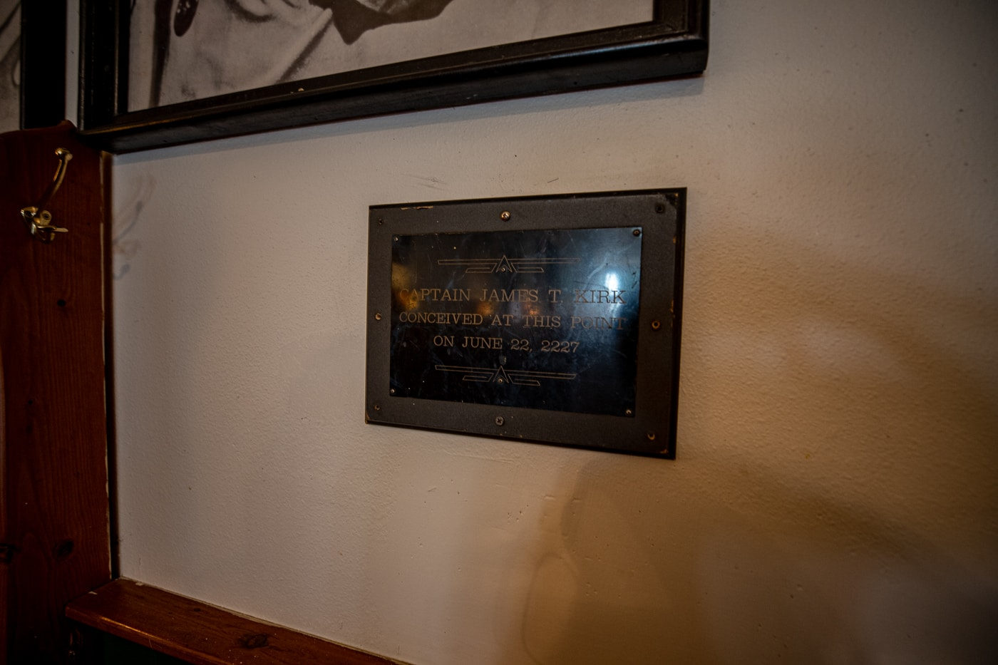 Captain Kirk Conceived Here Plaque at Murphy's Bar and Grill in Riverside, Iowa, the future birthplace of Captain James T. Kirk