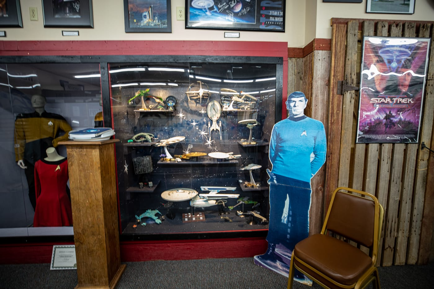 Models of the USS Enterprise at the Voyage Home History Center in Riverside Iowa. A Star Trek Museum in the future birthplace of Captain James T. Kirk of Star Trek fame.