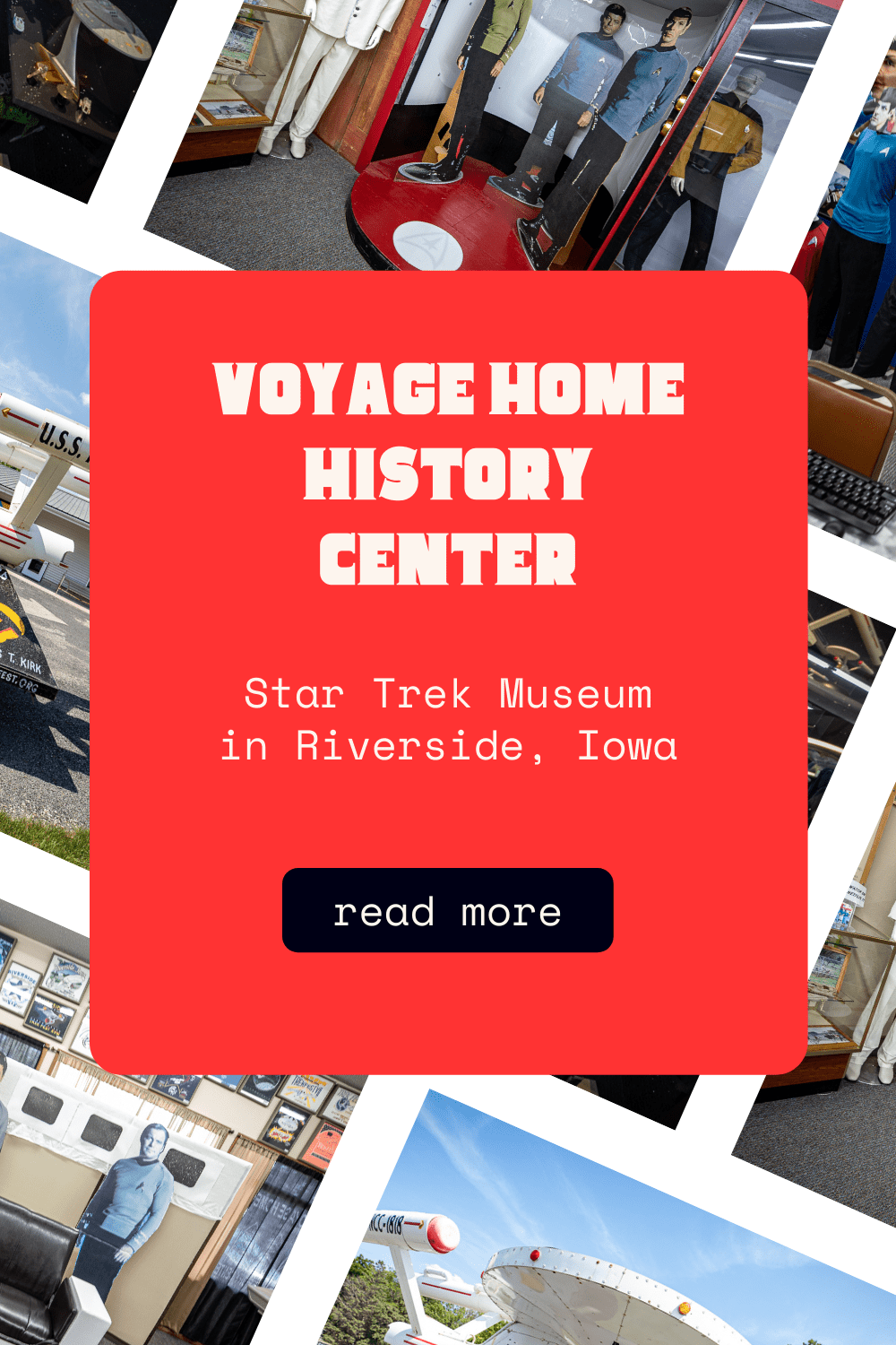 The Voyage Home History Center in Riverside, Iowa is a museum showcasing the town's history…and future history. But most people would just call it a Star Trek Museum. Located in the Future Birthplace of Captain James T. Kirk this roadside attraction is a must see road trip stop.  #StarTrek #IowaRoadsideAttractions #IowaRoadsideAttraction #RoadsideAttractions #RoadsideAttraction #RoadTrip #IowaRoadTrip #IowaThingsToDo #IowaRoadTripBucketLists #IowaBucketList #IowaRoadTripIdeas #IowaTravel