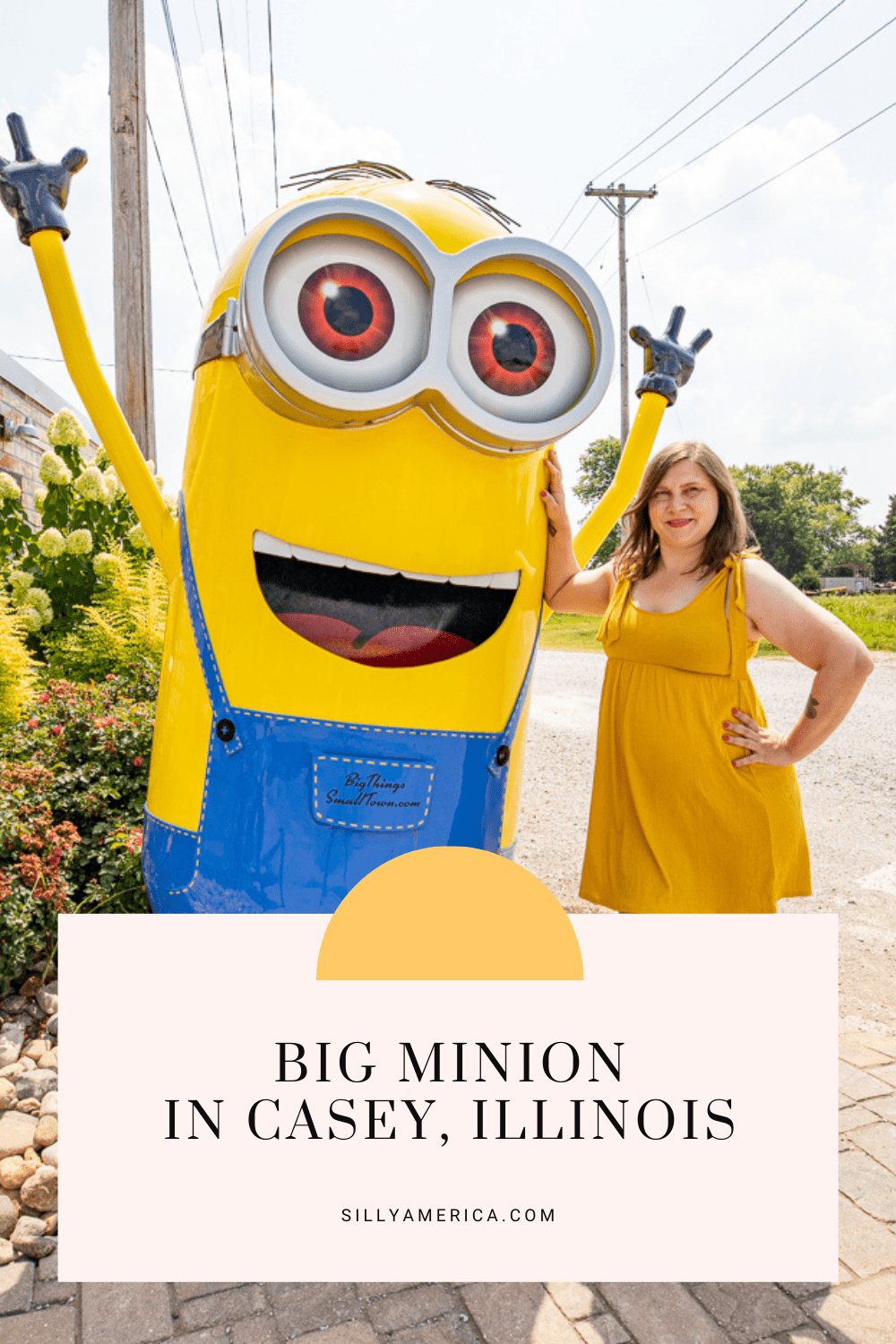 Casey, Illinois is a small town known for its big things. While you're in town exploring the world's largest things be sure to also check out this big Minion!  What is a Minion? They are bright yellow fictional creatures who were made popular by the Despicable Me movie franchise.   #IllinoisRoadsideAttractions #IllinoisRoadsideAttraction #RoadsideAttractions #RoadsideAttraction #RoadTrip #IllinoisRoadTrip #IllinoisWeekendGetaways #IllinoisWithKids #IllinoisRoadTripTravel