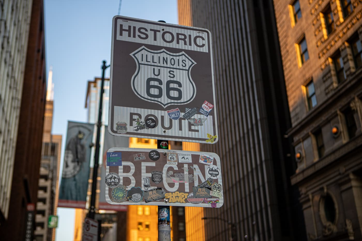 Historic Route 66 Begin Sign in Chicago, Illinois